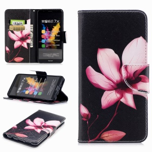 Pattern Printing Cell Phone Leather Wallet Case for Huawei Honor 7X - Flower Pattern