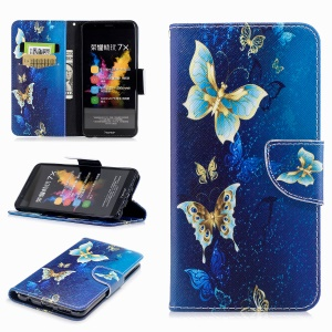 Pattern Printing Stand Leather Wallet Case for Huawei Honor 7X - Colorized Butterfly