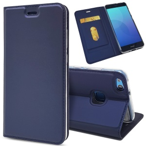 Auto-absorbed Magnetic Leather Stand Flip Casing Cover for Huawei P10 Lite - Blue