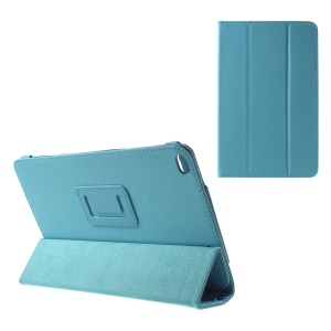 Litchi Texture Leather Tri-fold Flip Cover for Huawei MediaPad T1 10 - Blue