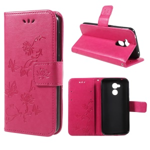 Imprint Butterfly and Flower Stand Wallet Leather Case for Huawei Honor 6A - Rose