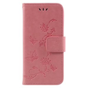 Imprint Butterfly and Flower PU Leather Stand Wallet Phone Case for Huawei Honor 6A - Pink