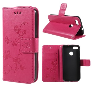Imprint Butterfly and Flower PU Leather Case for Huawei Y6 Pro (2017)/Enjoy 7/P9 lite mini - Rose