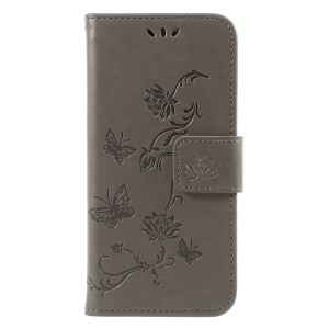 Imprint Butterfly and Flower PU Leather Shell for Huawei Y6 Pro (2017)/Enjoy 7/P9 lite mini - Grey