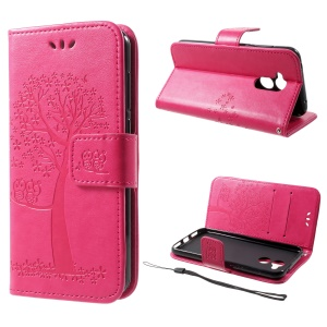 Imprint Tree Owl Magnetic Wallet PU Leather Stand Cover for Huawei Honor 6A - Rose