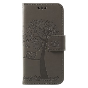 Imprint Tree Owl Magnetic Wallet PU Leather Stand Shell for Huawei Honor 6A - Grey