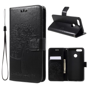 Imprint Tree Owl Wallet Stand Leather Phone Shell for Huawei Honor 7X - Black