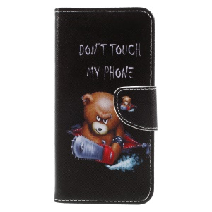 Pattern Printing Cross Texture Stand Wallet Leather Shell for Huawei Mate 10 Pro - Bear with Saw