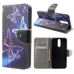 Pattern Printing Leather Wallet Case for Huawei Mate 10 Lite / nova 2i / Maimang 6 / Honor 9i (India) - Butterflies Pattern