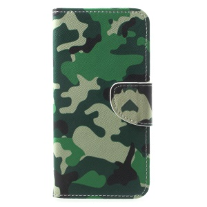 Pattern Printing Leather Wallet Cover for Huawei Mate 10 Lite / nova 2i / Maimang 6 / Honor 9i (India) - Camouflage Pattern