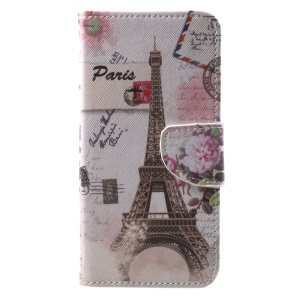 Pattern Printing Leather Card Holder Case for Huawei Mate 10 Lite / nova 2i / Maimang 6 / Honor 9i (India) - Eiffel Tower