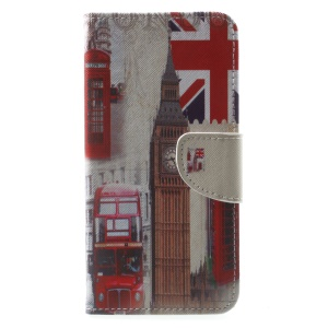 Pattern Printing Leather Stand Case with Card Slots for Huawei Mate 10 Lite / nova 2i / Maimang 6 / Honor 9i (India) - London Element