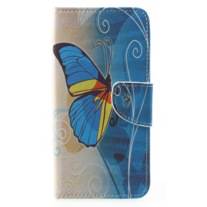 Pattern Printing Leather Stand Cover with Card Slots for Huawei Mate 10 Lite / nova 2i / Maimang 6 / Honor 9i (India) - Blue Butterfly