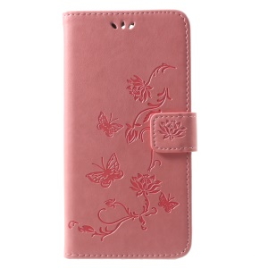 Imprint Butterfly Flowers PU Leather Wallet Case for Huawei Mate 10 Lite / nova 2i / Maimang 6 / Honor 9i (India) - Pink