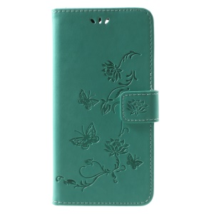 Imprint Butterfly Flowers Leather Card Holder Case for Huawei Mate 10 Lite / nova 2i / Maimang 6 / Honor 9i (India) - Green