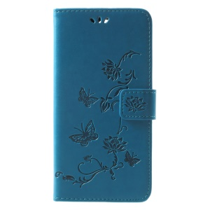 Imprint Butterfly Flowers Phone Leather Wallet Case for Huawei Mate 10 Lite / nova 2i / Maimang 6 / Honor 9i (India) - Blue