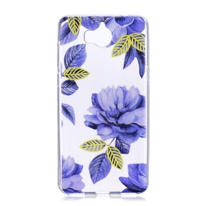 Printing Pattern Soft TPU Protective Case for Huawei Y6 (2017) / Y5 (2017) - Blue Flowers