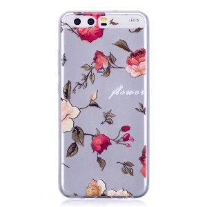 Pattern Printing TPU Flexible Cellphone Casing for Huawei P10 - Vivid Flowers