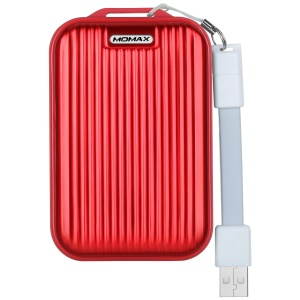 MOMAX iPower Go mini3 Traveling Case 10000mAh Dual USB Battery Charger with Quick Charge 3.0 - Red