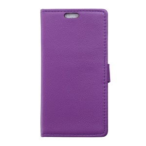 Lychee Skin Wallet Leather Cover Case for Huawei Y6 Pro / Enjoy 5 - Purple