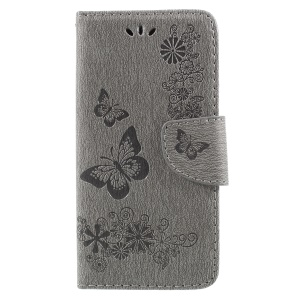 Imprinted Butterfly Flowers Magnetic Leather Wallet Case for Huawei P9 lite mini / Enjoy 7 / Y6 Pro (2017) - Grey