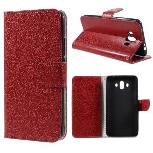 Flash Powder Leather Wallet Cellphone Case for Huawei Mate 10 - Red