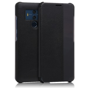 View Window PU Leather Flip Casing for Huawei Mate 10 Pro - Black