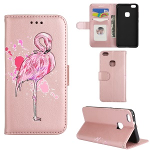 Flash Powder Flamingo Wallet Stand Leather Phone Case for Huawei P10 Lite - Rose Gold