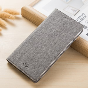 Cross Texture Leather Casing with Stand for Huawei Honor 7X - Grey