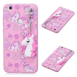 Unicorn Patterned TPU Case with Unicorn Pendant for Huawei P8 Lite (2017) / Honor 8 Lite - Pink