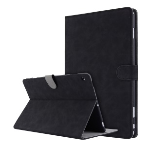 Retro Style Leather Flip Case for Huawei Honor Waterplay - Black