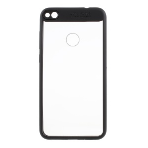 For Huawei P8 Lite (2017) Silicone Frame + Transparent Acrylic Back Hybrid Mobile Case - Black