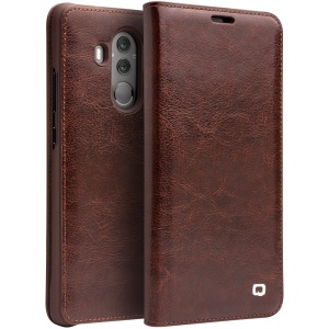 QIALINO Classic Genuine Leather Auto-wake/sleep Card Slot Cell Phone Cover for Huawei Mate 10 Pro - Brown