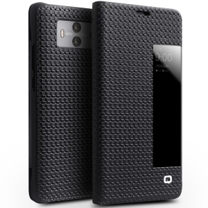 QIALINO Grid Pattern Smart View Window Genuine Leather Cover for Huawei Mate 10 - Black