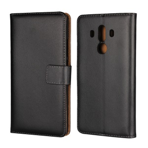 Crazy Horse Genuine Leather Magnetic Wallet Case for Huawei Mate 10 Pro - Black