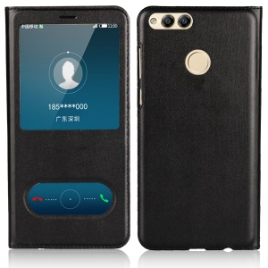 Dual View Window Slim Leather Protective Case for Huawei Honor 7X - Black