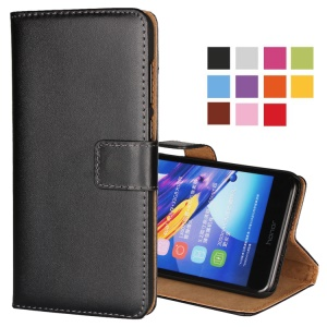 Split Leather Wallet Stand Protective Case for Huawei Honor 6C Pro / V9 Play - Black