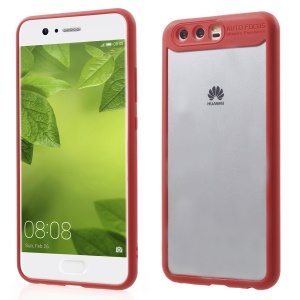 Transparent Acrylic Back + TPU Frame Hybrid Phone Case for Huawei P10 - Red