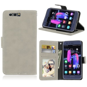 Matte Finish Wallet PU Leather Stand Cover for Huawei Honor 9 - Grey
