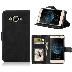 Matte Finish Wallet PU Leather Stand Case for Huawei Y3 (2017) - Black