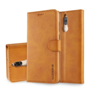 LC.IMEEKE for Huawei Mate 10 Lite / nova 2i / Maimang 6 PU Leather Stand Wallet Casing with Card Slots - Brown
