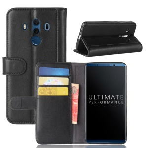 Genuine Split Leather Magnetic Cover Case with Card Slots for Mate 10 Pro - Black