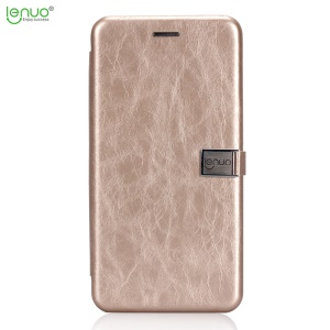LENUO Crazy Horse PU Leather Holder Folio Flip Case Para Huawei Mate 10 Lite / nova 2i / Maimang 6 - Oro