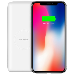 MOMAX QPower 2 Qi Wireless External Battery Pack Mat with 10000mAh Power Capacity for iPhone X/8/8 Plus etc. - White