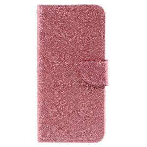 For Huawei Honor 6A Glittery Powder Stand Leather Phone Case Shell - Pink