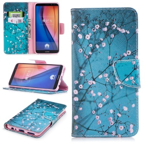 Pattern Printing PU Leather Wallet Shell for Huawei Mate 10 Lite / nova 2i / Maimang 6 / Honor 9i (India) - Wintersweet