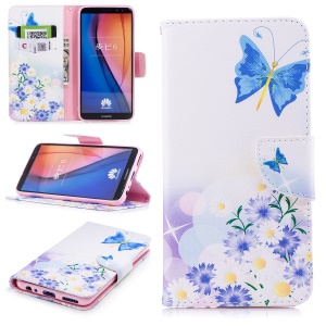 Pattern Printing PU Leather Protective Mobile Cover for Huawei Mate 10 Lite / nova 2i / Maimang 6 / Honor 9i (India) - Blue Butterfly and Daisy