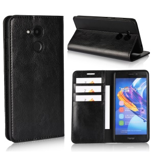 Crazy Horse Genuine Leather Stand Wallet Case for Huawei Honor 6C Pro / V9 Play - Black