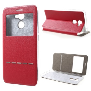 View Window Touch Slide Leather Case for Huawei Y7 Prime / Enjoy 7 Plus - Red