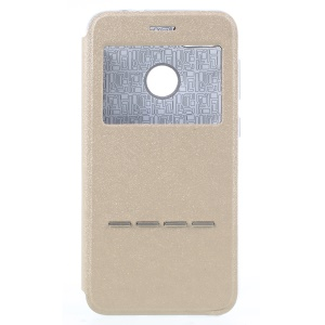 View Window Leather Stand Cell Phone Case with Touch Slide Button for Huawei Y6 Pro (2017) /  Enjoy 7 / P9 lite mini - Gold